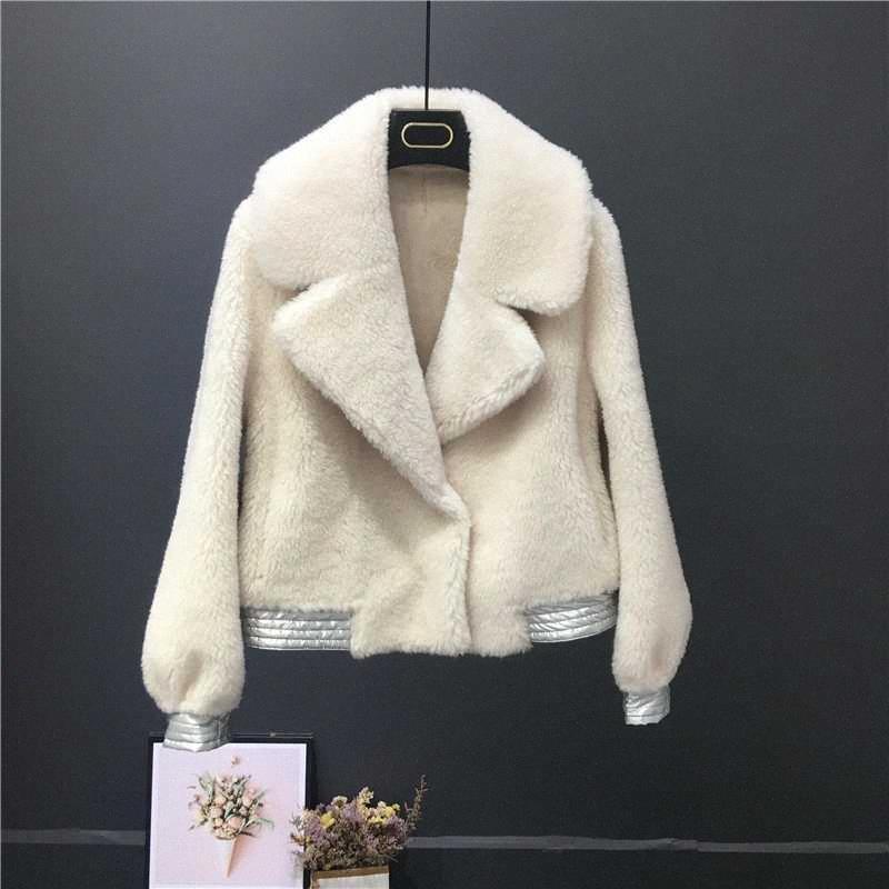 Luxe 2020 Nouveau mode Luxe Veste d'hiver de vraies femmes manteau de fourrure laine à tricoter turn-down col chaud épais Marque-vêtement 29v9 #