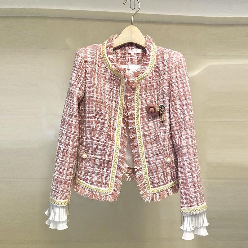 Şık Pembe Ekose Tweed ceket Sonbahar Kış Kadın Yün Saçaklı Trim Püsküller Broş Uzun Kollu İnciler Kısa Ceket Kaban 201021
