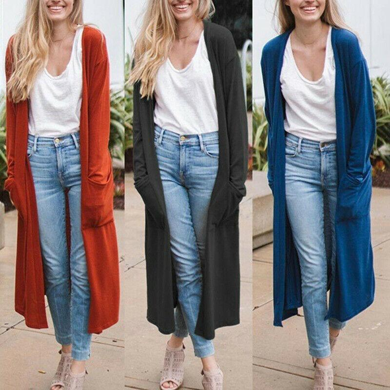 Tops Cardigan Casual de las Mujeres Tops Abrir Bolsillos Delanteros Sólido Outwear Outwear Outwear