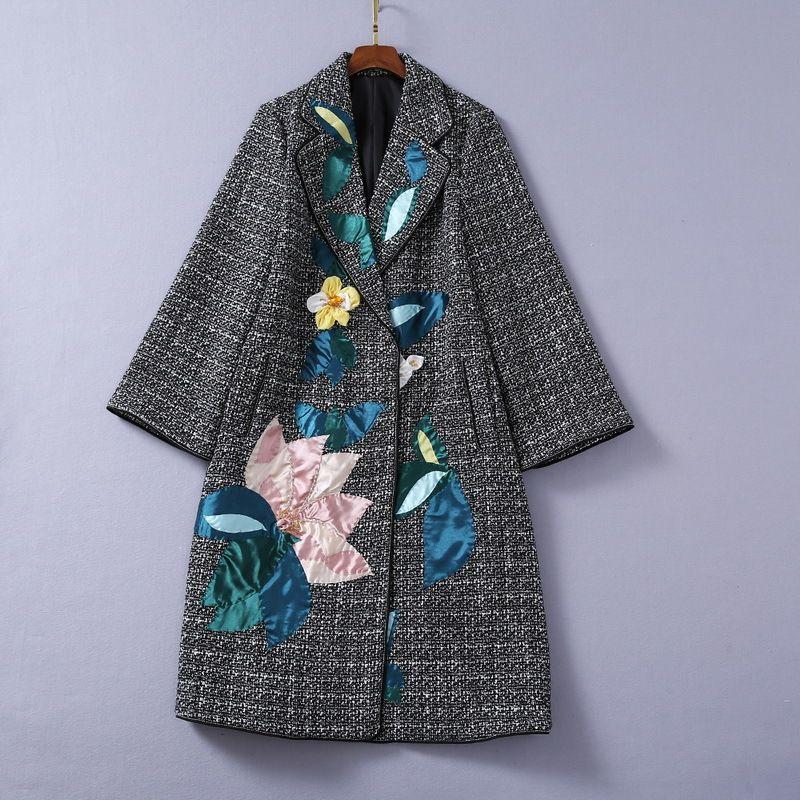 Desgaste de las mujeres europeas y americanas 2020 Winter New Style de manga larga - Cuello de cuello de cuello de cuello de tela de cuello de moda abrigo de lana de moda
