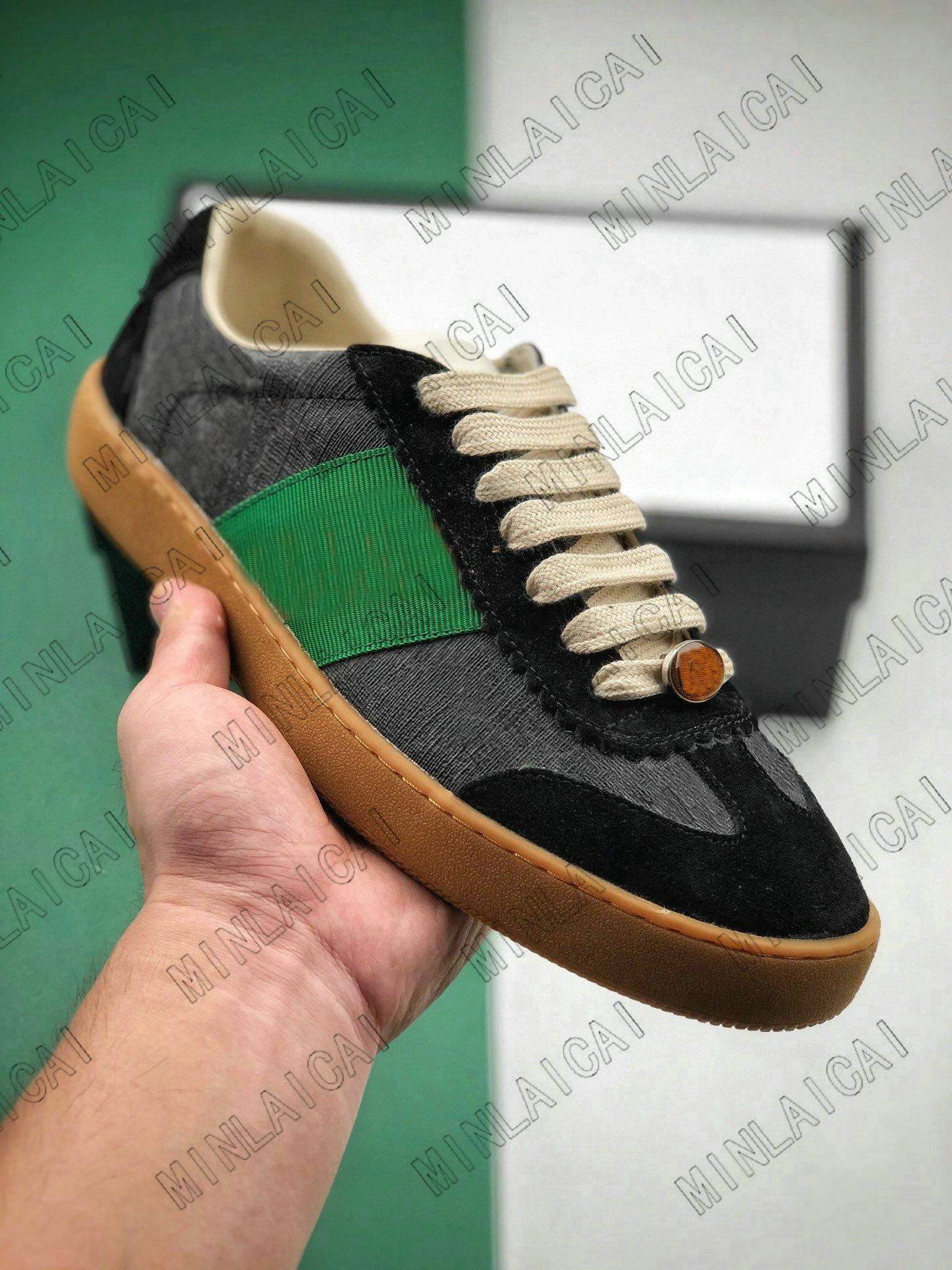 Herren bestickt Distressed Leder Screener Ass Grün Rot Streifen Italien Sneakers Designer Trainer Lace Up Low Cut Casual Schuhe