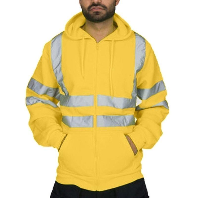 Erkek Moda Outdoorwear Görünürlük Güvenlik İş Elbiseleri Ayarlanabilir Erkek Jaet Artı boyutu Erkek Giyim Kapşonlu Sweatshirt Kapüşonlular