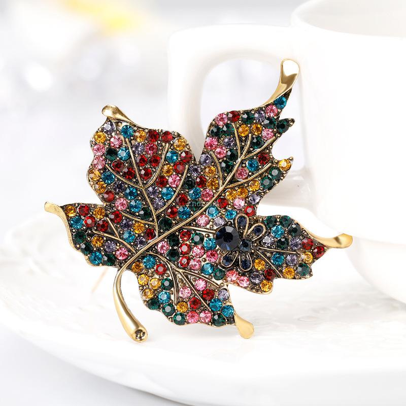 gold maple leaf brooch diamond dress business suit brooches scarf buckle corsage women men fashion jewelry will and sandy gift