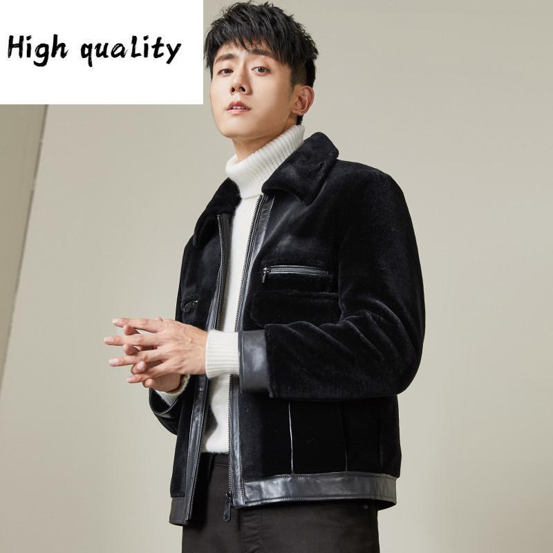 Pelliccia reale inverno pecore shearing giacca da uomo in pelle da uomo corto soprabito cappotto di lusso uomo MG-1900007 KJ1322