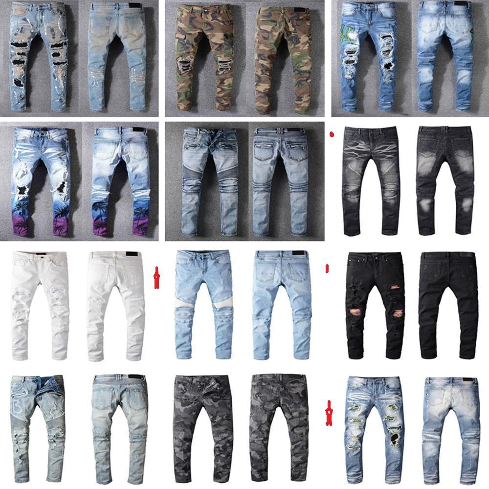 Leggings masculinos estendidos rasgados calças afligidas francês fashion pierre jeans jeans masculinos jeans masculinos rasgados alongamento casual denim casual