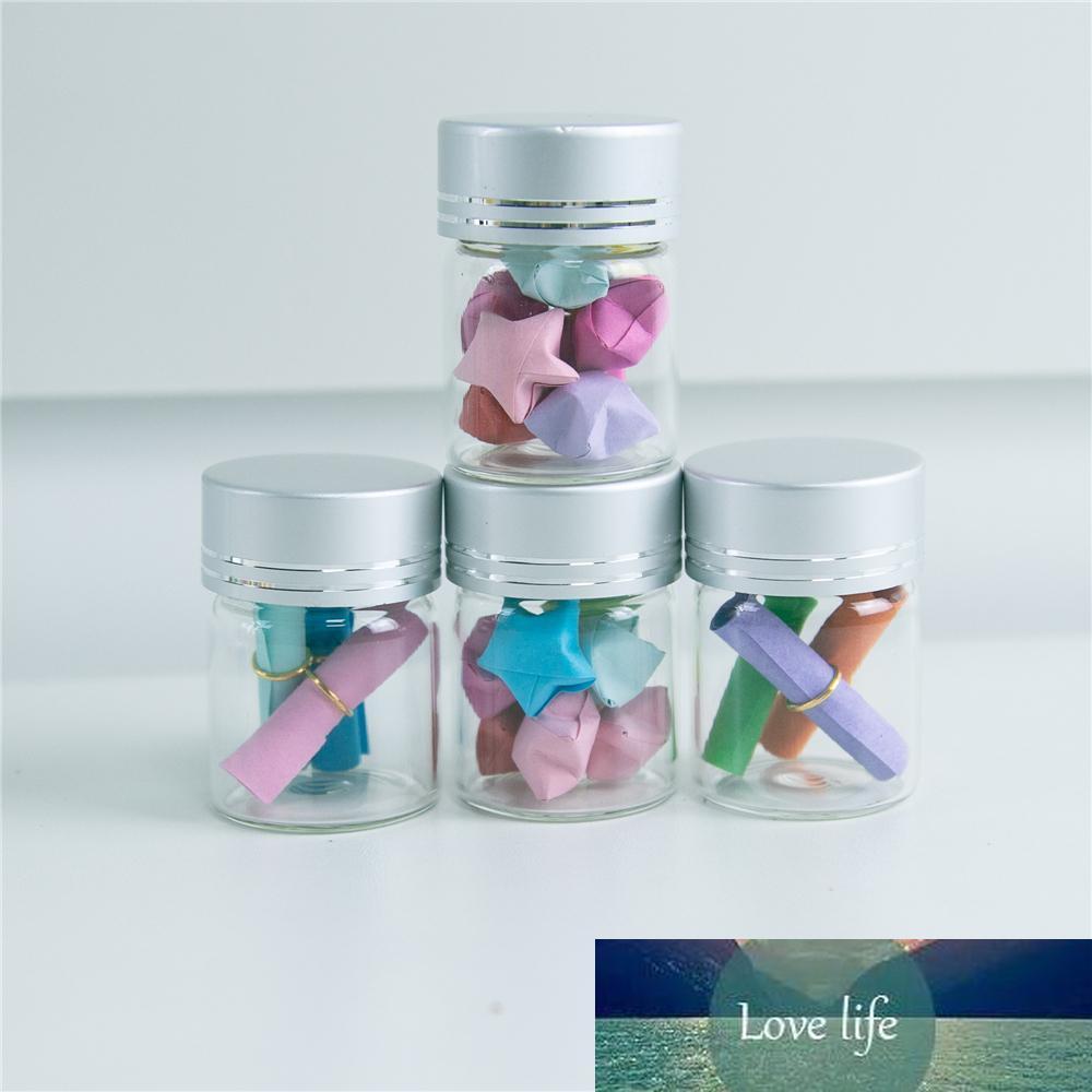 Garrafas de armazenamento frascos de vidro de prata de alumínio tampa de rosca Garrafas vazias 15ml 25ml 40ml 50ml 50pcs Diy Wedding Gift grátis