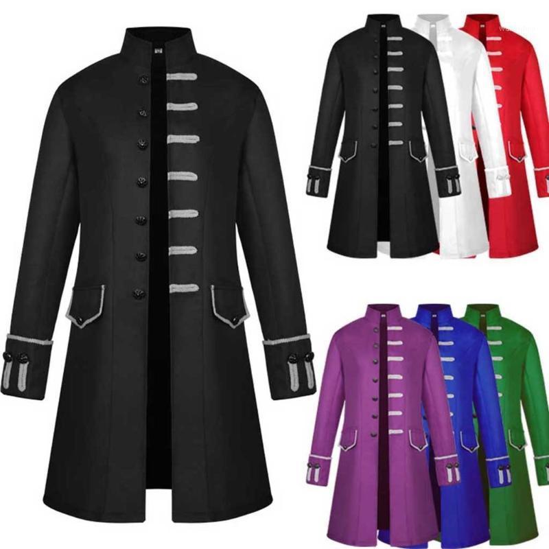 Men Trench Coat Steampunk Jacket Medieval Costume Men Long Sleeve Gothic Brocade Jacket Frock Vintage Stand Collar Men's Coat1