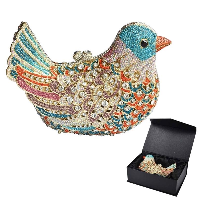 Popüler Lüks Akşam Sparkly Kristal Kadınlar Debriyaj Renkli Kuş Desen Bayanlar Yemeği Çanta Kavramları Çanta SC035 Y201224