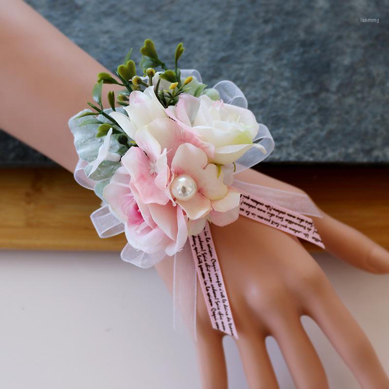 Simulation Silk Corsage Wrist Flower Wedding Bride and Groom jin hua Banquet Friends and Sisters shou hua Photo1