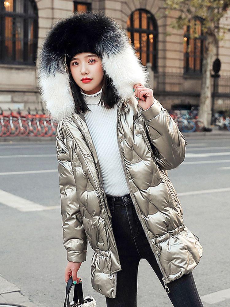 Kleidung 2020 Mittellange beiläufige lose Frauen Baumwoll-Frauen plus Größe Wintermantel Schlank Ja