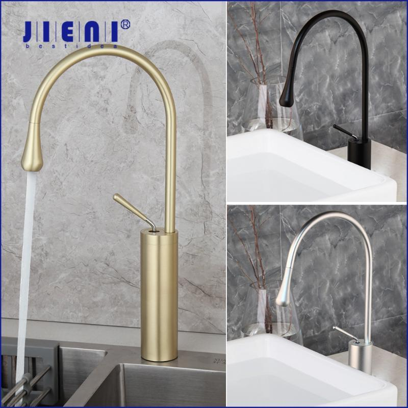 Bathroom Sink Faucets JIENI Brushed Gold Basin Faucet Solid Brass Cold & Mixer Tap Black Silver Vegetable Kitchen