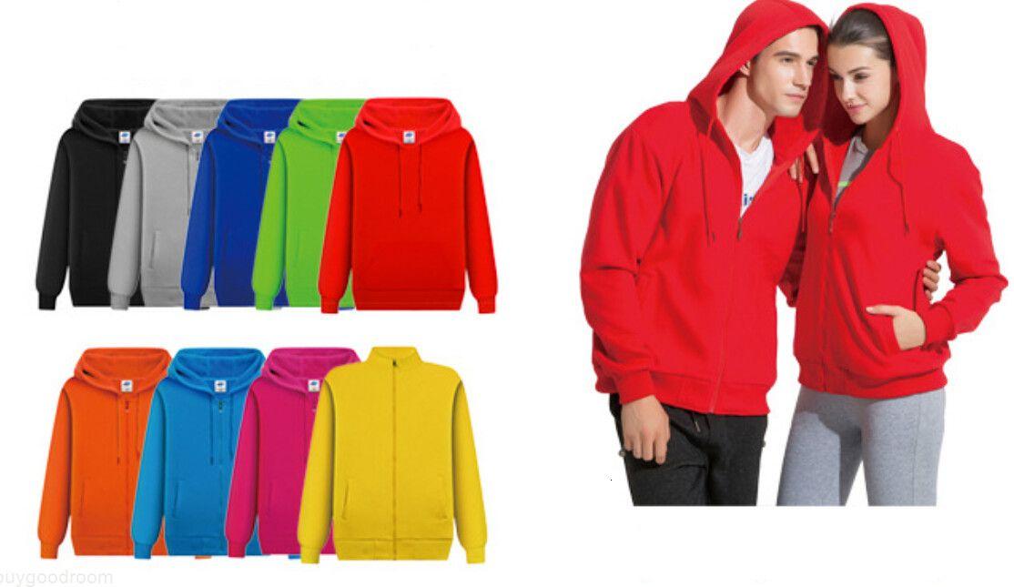 Herren mit Kapuze Sweatshirts Reißverschluss Strickjacke Mantel Lässig Solide Farbe Pullover Sweatshirts Tops Frauen Liebhaber Lange Ärmel Hoodies Klassen Kleidung