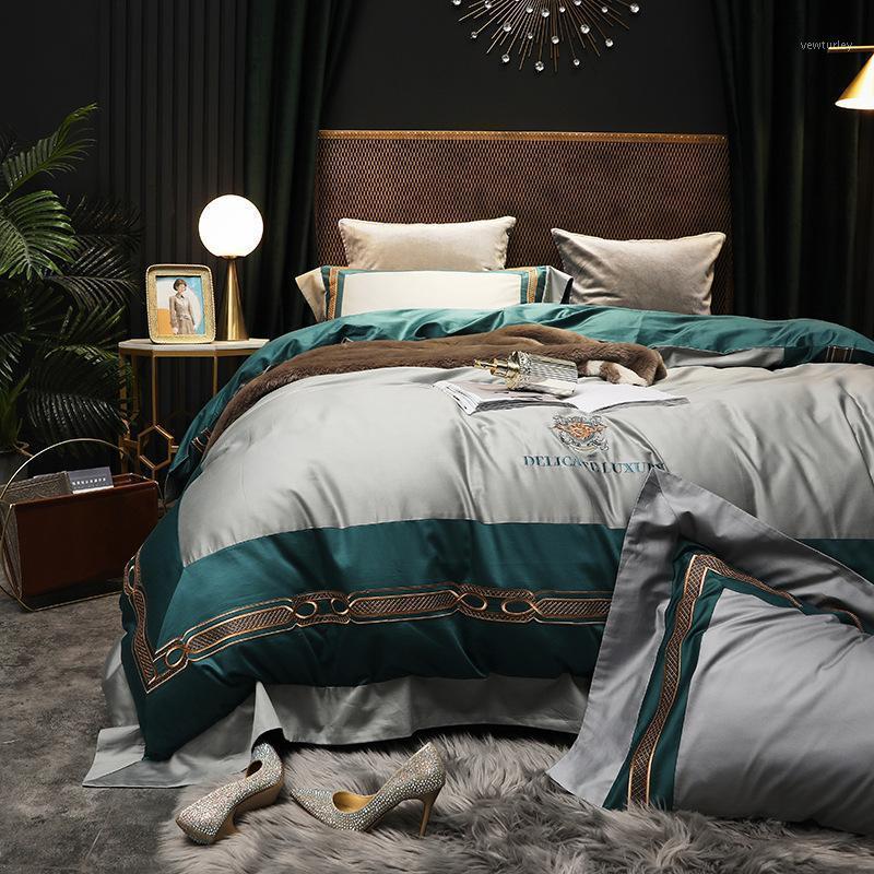 Conjuntos de ropa de cama 50 4pcs de alta calidad 4 unids cubierta de edredón Tribute Siled Bed Set King Queen Tamela de edredón Hoja de la pillowowcase1