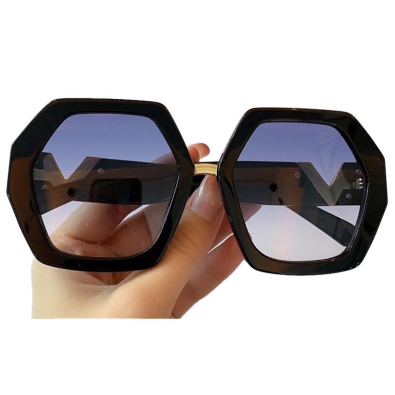 Grandes femmes hexagonales ultrazées pour 2020 Gafas Brand Sunglasses UV400 Lunettes Sun Hommes de Sol KQenu