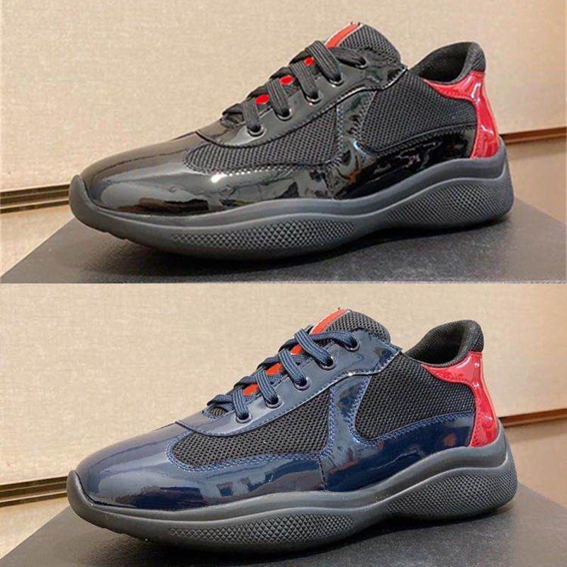 الرجال أمريكا كأس مصمم أحذية رياضية الأعلى براءات الاختراع المدربين المسطحة السوداء أسود الأزرق شبكة الدانتيل متابعة النايلون عارضة الأحذية في الهواء الطلق عداء الأحذية مع مربع