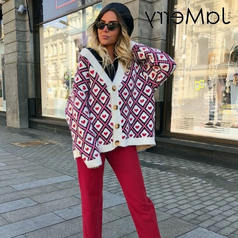 JaMerry Сердце печати трикотажных женщины однобортной женский свитер 2019 осень зима негабаритного джемпер джемпер