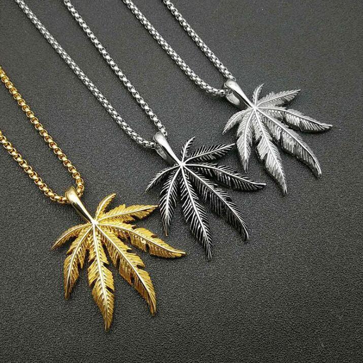 Nuova collana di foglia di albero di arrivo per le donne uomini Boho 3 colori acero foglia collane lungo catena d'oro fascino hip hop San Valentino gioielli