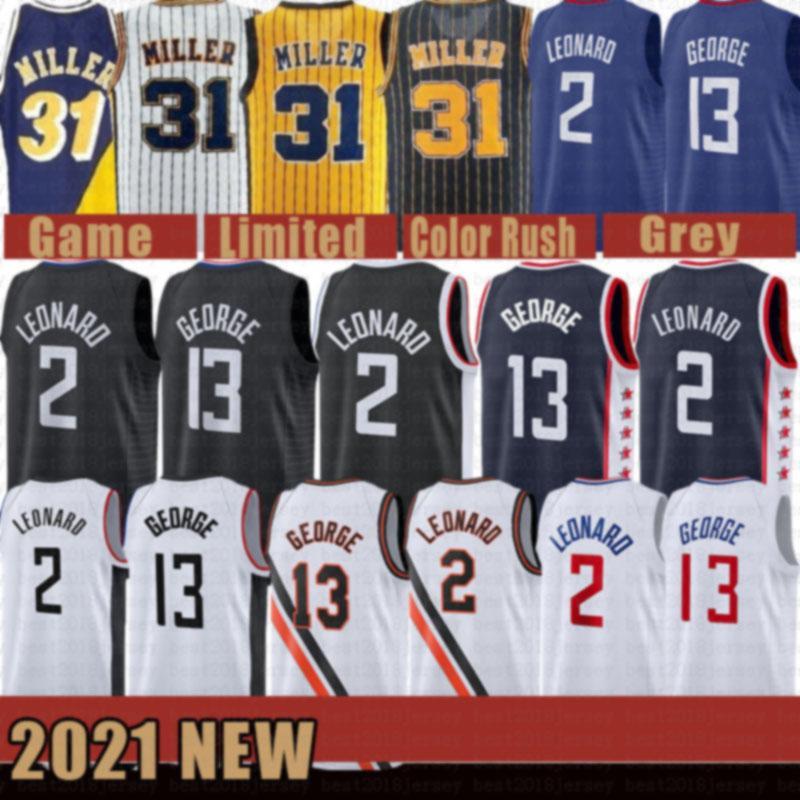 2021 New Kawhi Basketball Jersey 2 Leonard Mens Paul 13 George Mesh Retro Reggie 31 Miller Victor 4 Oladipo Gold