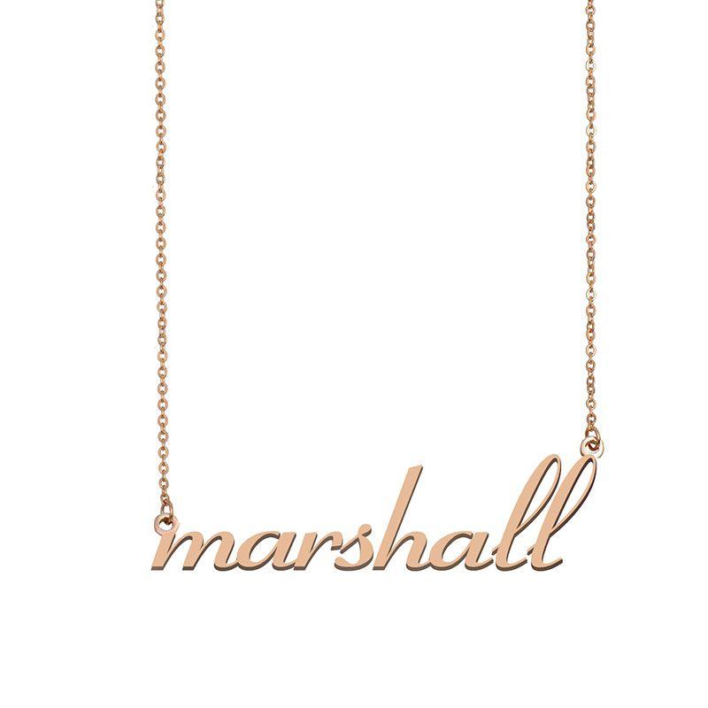 Marshall Name Halskette Anhänger Sinne Personalisierte Personifizierte Für Frauen Mädchen Kinder Beste Freunde Mütter Geschenke 18 Karat vergoldetem Edelstahl