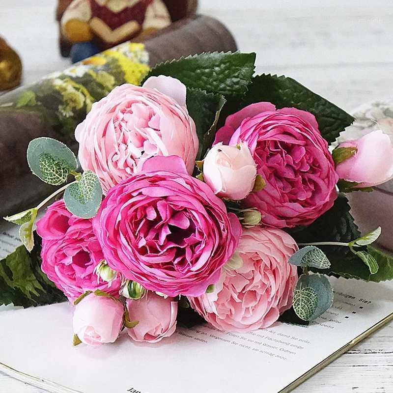 Rosa peonía flores de seda artificial del día de san valentín regalo del día de San Valentín Pequeño ramo Flores Fiesta de la boda Decoración de la boda Mariage Flower1