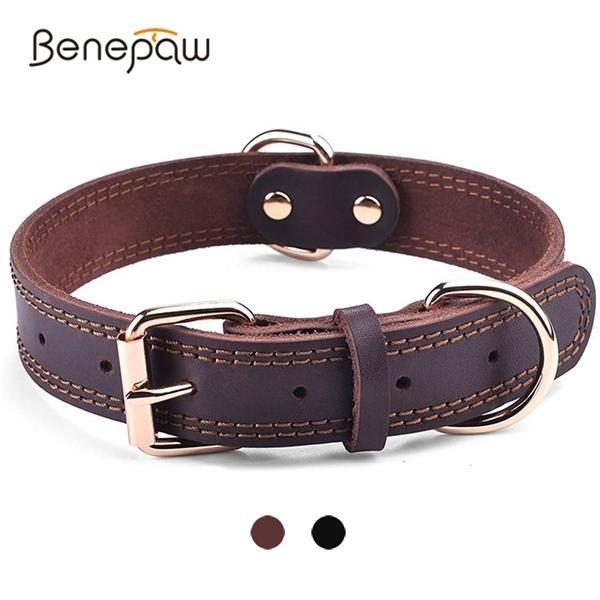Benepaw calidad del cuero genuino de la vendimia collar de perro durable de alta resistencia a prueba de herrumbre collar doble anillo en D del animal doméstico para los perros Mediano Grande 1020