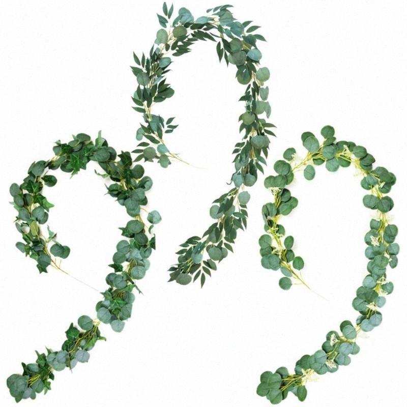 1PC 2m Decoração Hanging Eucalyptus Artificial folhas de salgueiro Silk Cloth Vines Pendure Garland suporte da foto do casamento Office Home Decor QNwf #