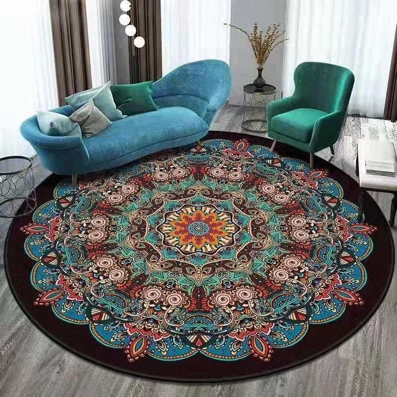 Bohème vintage Mandala ethnique Tapis Salon Chambre Tapis Chaise Antiderapant ronde Tapis Parlor Cercle Tapis décoratifs pour la maison KP2M #