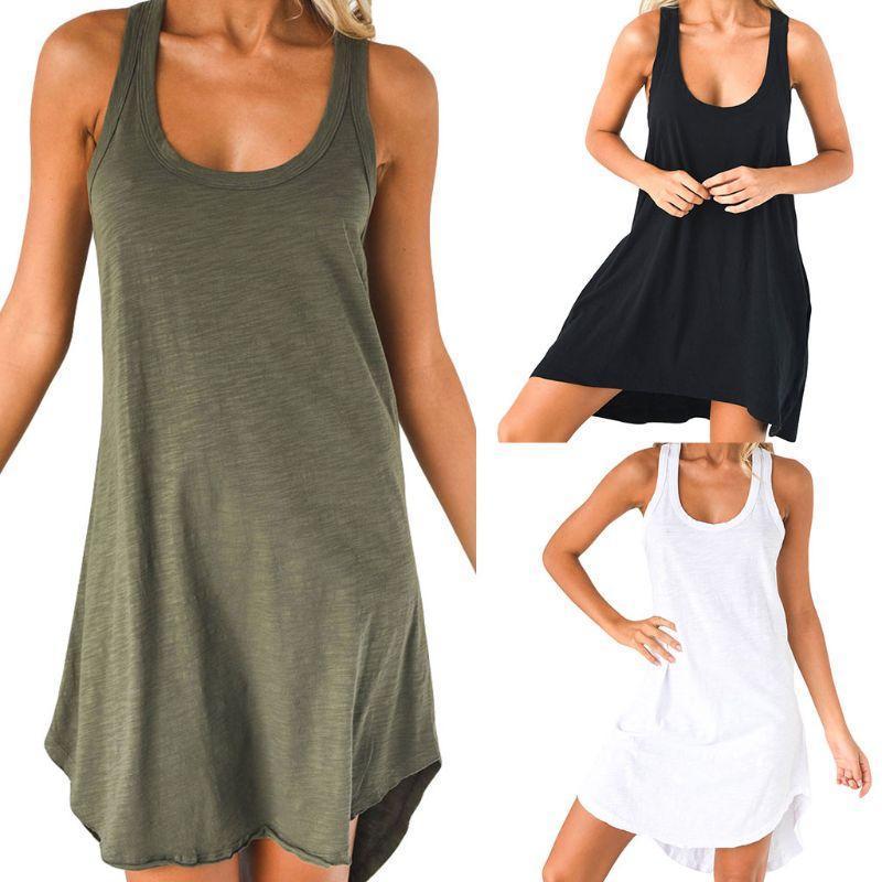 Donne sexy senza maniche allentate casual cotone misto vestito solido swing swing mini sundress camicia pigiama per casa ojwmp