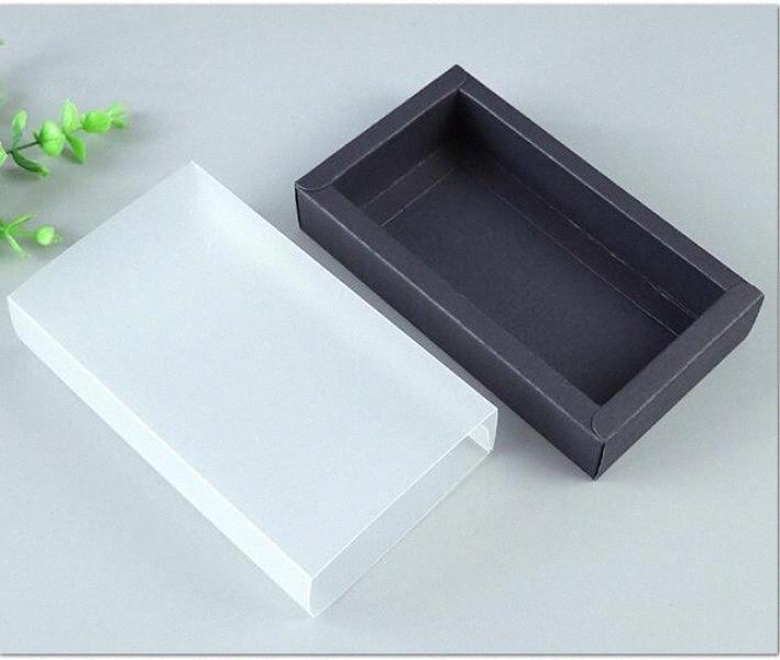 Copertura in PVC di 10pcs carta nera Cassetto Box Con Frosted fai da te a mano Scatola di cartone per la bambola gioielli Imballaggio regalo 12.8x10.8x4.2cm 7NGY #