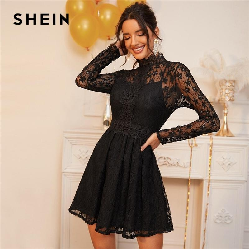 Ошибка Hein Black Stand Sheer Lace гламурное наложение платье женщин весна высокая талия с длинным рукавом вспыхиваемые женские платья для вечеринки Y200805