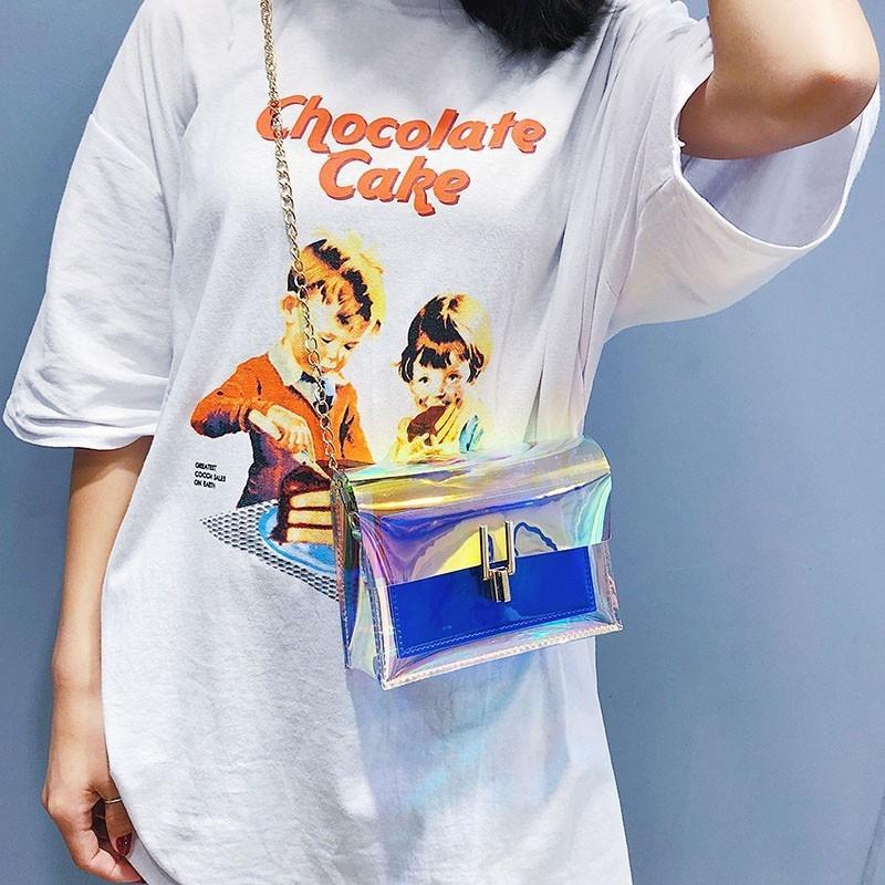 l'épaule des femmes Petit 2020 petit style coréen mode mini-sac à bandoulière en chaîne gelée des femmes sac de messager laser W9NgA