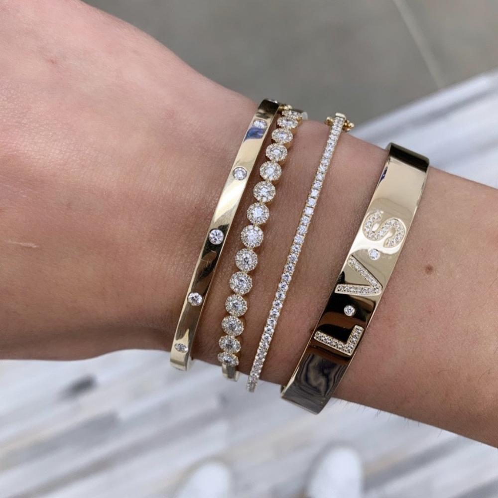 rose gold Color Clear CZ Charm Bracelets & Bangles For Women Star With Moon WEDDING Bangle Jewelry Wholesale Pulseras 0930