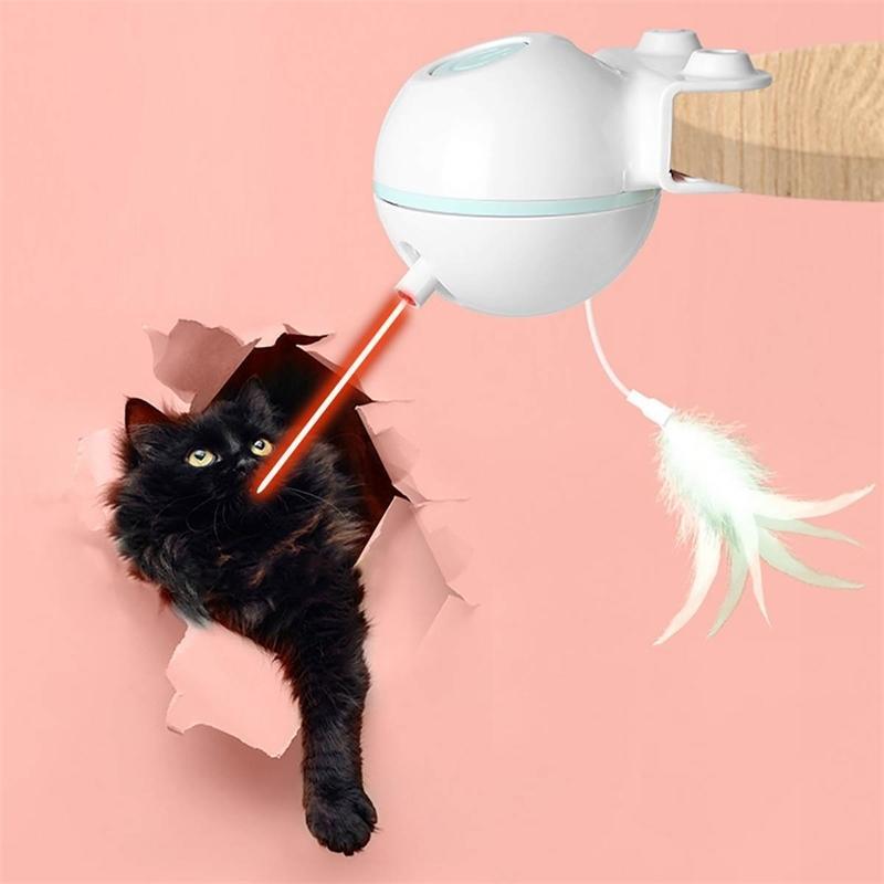 الحيوانات الأليفة الإلكترونية القط لعبة ريشة الذكية التلقائي الاستشعار الليزر العقبات USB الكهربائية مضحك القط عصا 201112