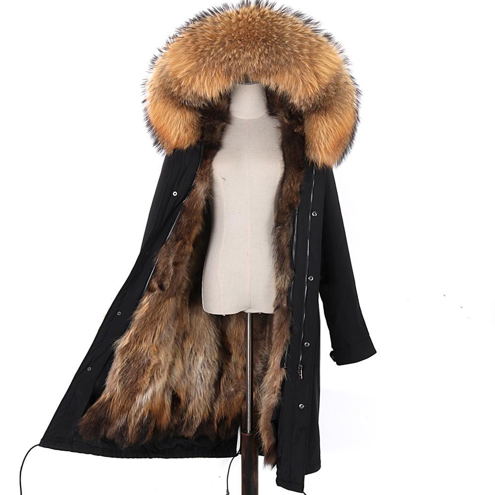 зима мода реальной лиса волос лайнер реальных лисий мех воротник съемные женщины теплая с капюшоном высокого качества женщины шуба парок 201007
