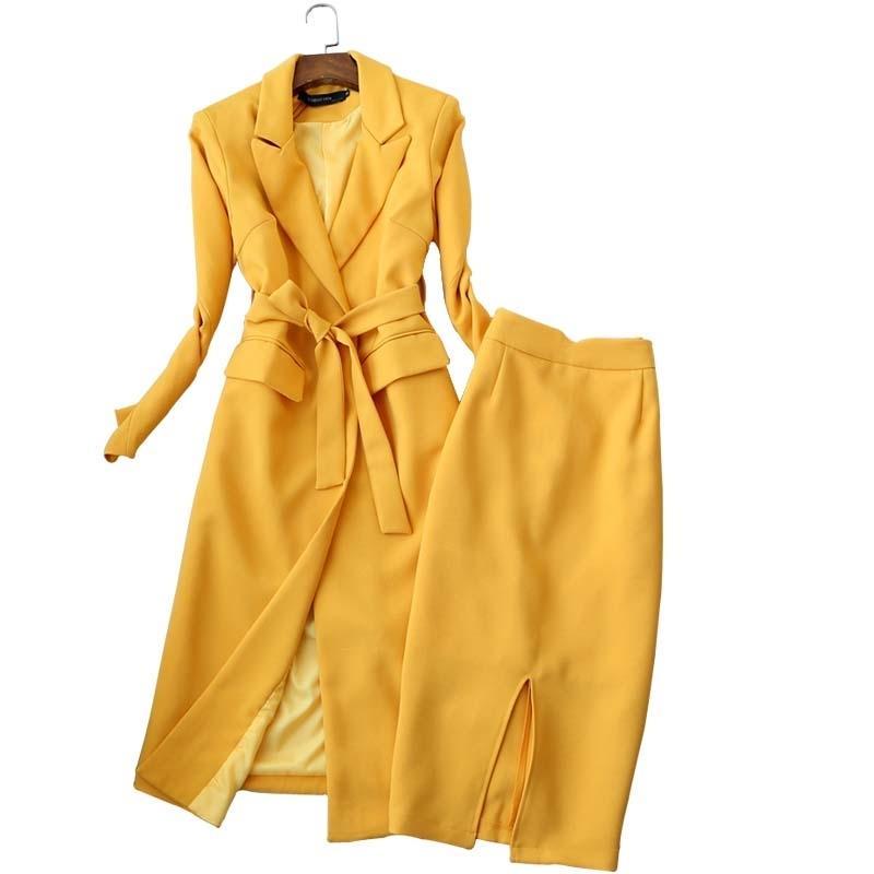 Temperament women's suit skirt set two-piece Autumn and winter high quality yellow long ladies coat jacket Slim skirt black 201012