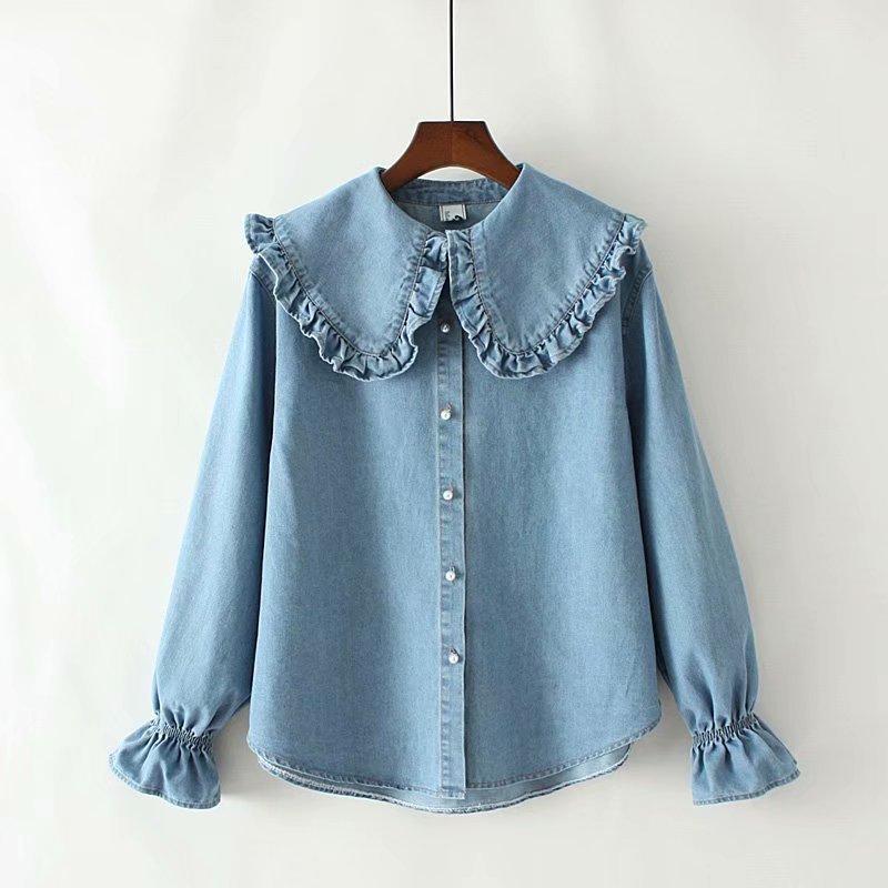Женская блузка и топы Осень Новый стиль Ruffled Peter Pan воротник джинсовая рубашка женские сладкие корейские рубашки с длинным рукавом 201126