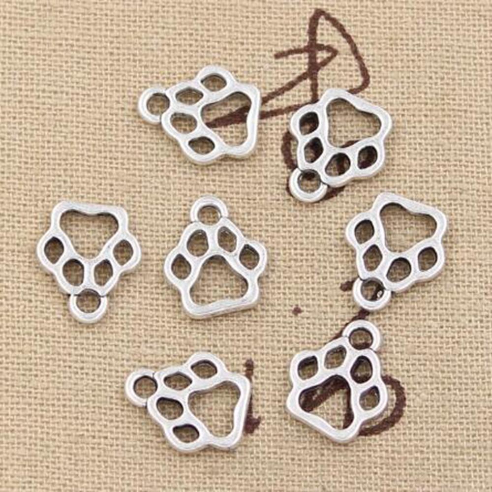 200 adet Alaşım Hollow Köpek Paw Boncuk 13x11mm Antik Gümüş Kolye Takı Yapımı Için Bilezik Kolye DIY Aksesuarları