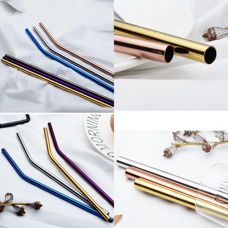 304 aço inoxidável palha PVD Titanium chapeamento de ouro lisa Estiramento metal Palhas Multi Color reutilizável sucção Tubos Barware 2 1AE G2
