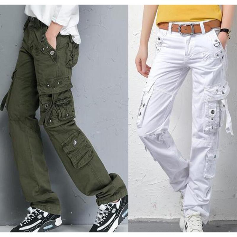 2021 Neue Herbsthosen der grünen Armee tragen lose Baumwolle Frauen Multi-Taschen Straight Street Dance Pants M3AJ