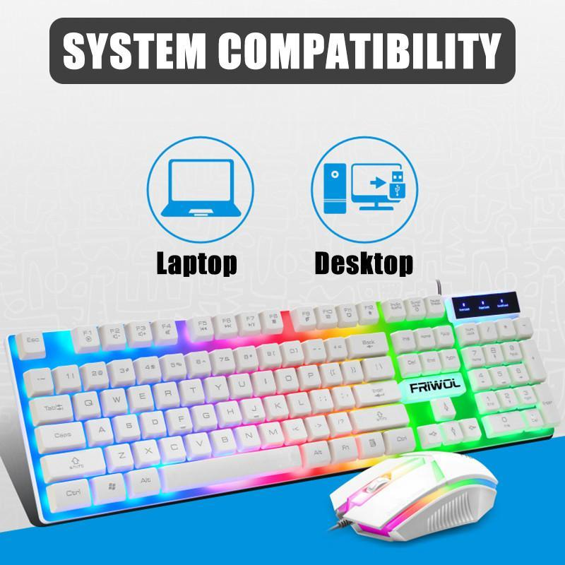 NEW Gaming Keyboard and Mouse Set Rainbow Backlight USB 2400DPI 104 keys LED Ergonomic Gamer Computer Keyboard for PC Laptop