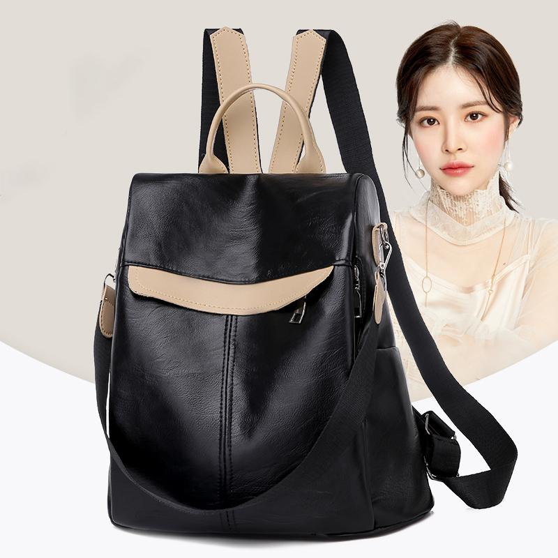 Quality Leather Backpack Female 2020 School Bag Anti-theft Designe Travel Backpacks Bookbag for Teenager Girls Women Back Pack Q1113