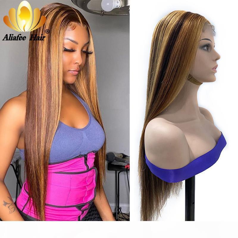 Braune blonde Highlights Farbe Gerade Perücke 4x4 Spitze Verschluss Menschliches Haar Perücke 150% Dichte Remy Haare mit Baby für Frauen