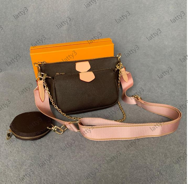 2020 genuíno vendido bolsas bolsas bolsas mini mulheres multi coceteta acessórios moda crossbody bolsa pochette 3 pcs flor de flor shorver trrp