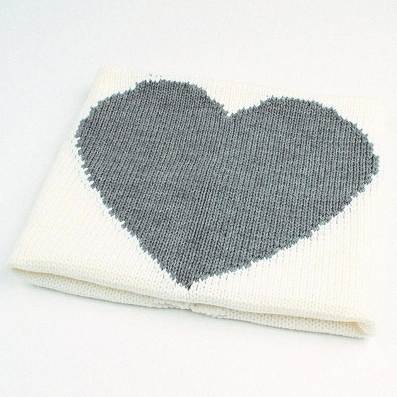 Mantas de bebé recién nacido lindo de la forma del corazón de tejer Wrap manta suave estupenda infantil lecho del bebé dormir combinado de punto para bebé de la edad 0 6 # CKMF