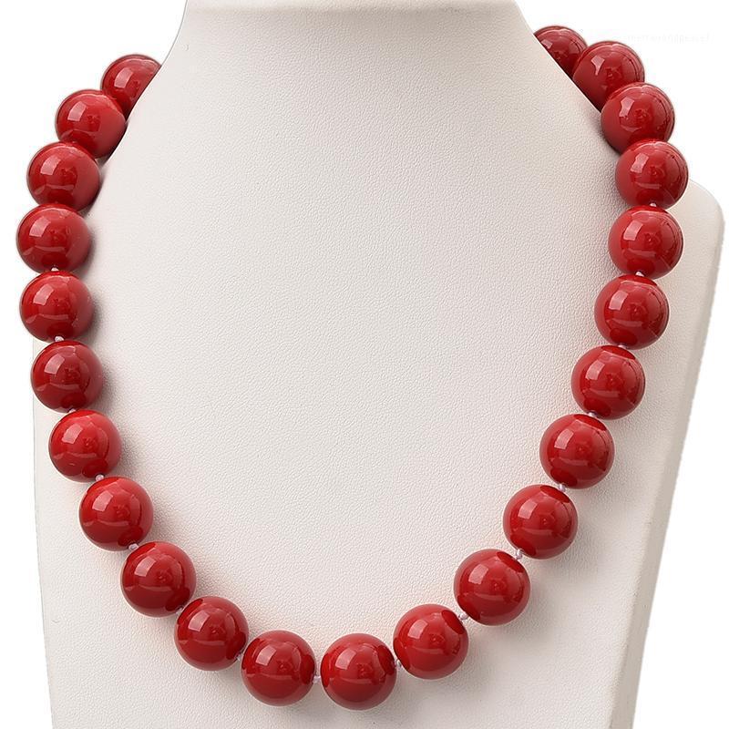 Red Coral Beads 14mm Pick Tamaño para hacer hechos a mano DIY Sintético Red Coral Collar de coral 18 pulgadas Regalos de fiesta H8151