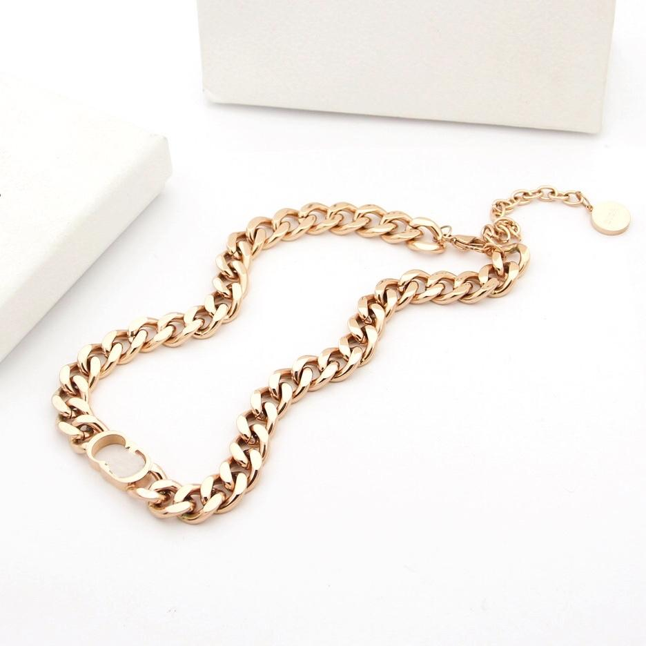luxury designer jewelry women necklaces rose gold chains Link Stainless Steel silver 18k gold stud and bracelets jewelry suits hot
