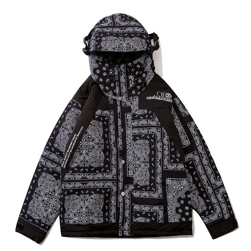 2020 Streetwear do revestimento do revestimento Padrão étnico impresso inverno quente grossa Vintage Outwear blusão com capuz Casal Jacket Parkas