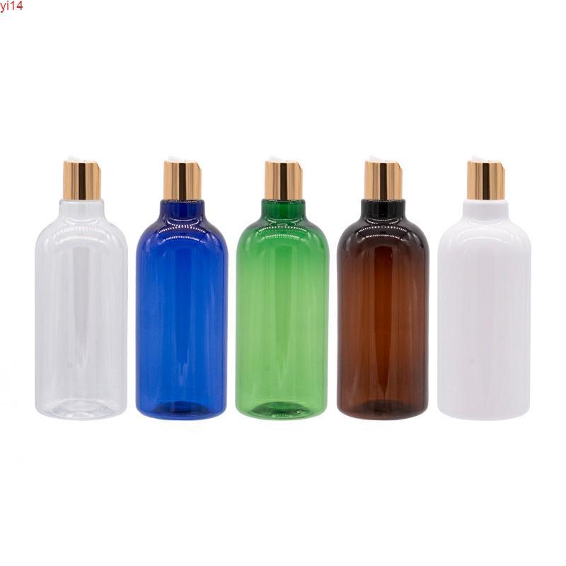 Переупаковка шампуня 500 мл пустой бутылкой Большой размер лосьон контейнер с золотой прессовой крышкой жидкий мыльный макияж пластиковый 14pchigh Quality
