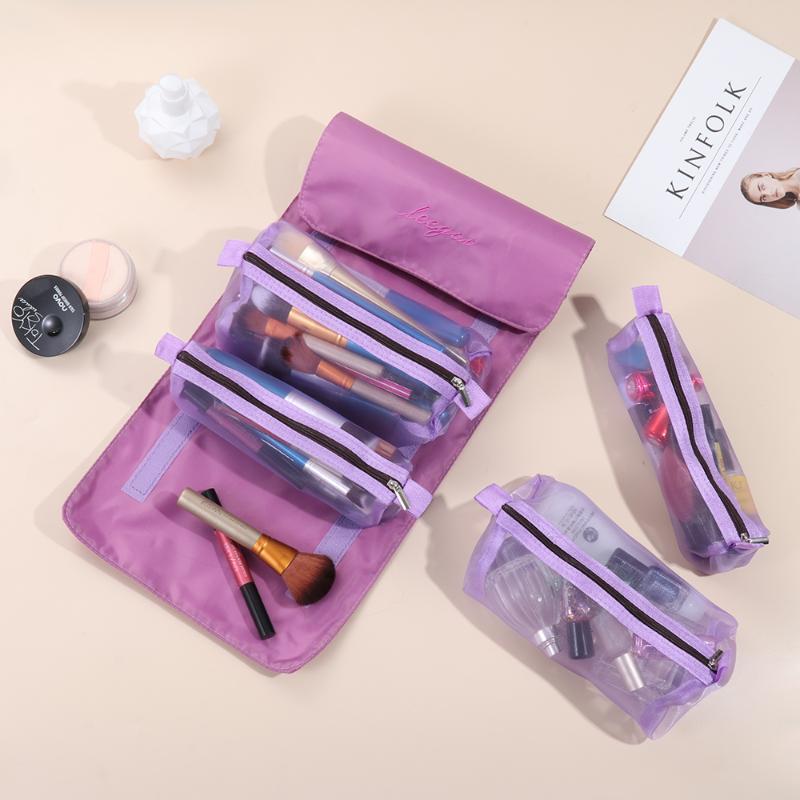 Moda Cosméticos Bolsa Impermeable Plegable 4 en 1 Hook Loop Mess Makeup Bag Removible Cosmetic Makeup Pouch Organizador