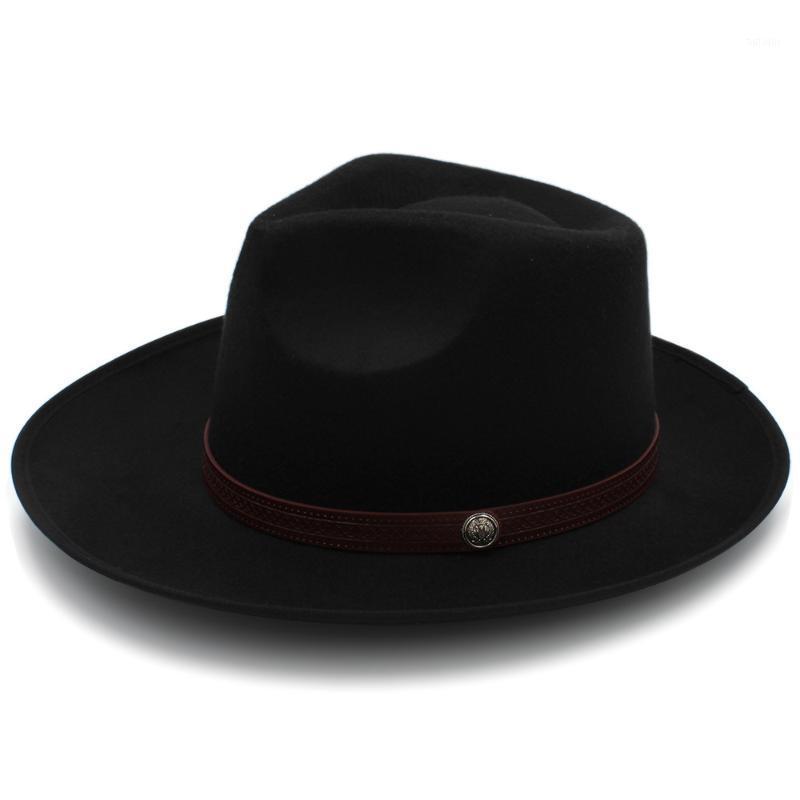 Uomini feltro cappello fedora con largo cappello jazz da cormo gentiluomo Dad Papà Autunno Sombrero Godfather Dad Cintura in pelle1